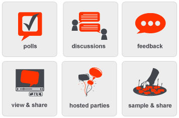 crowdtap activities include polls, discussions, feedback, view and share, hosted parties, and sample and share